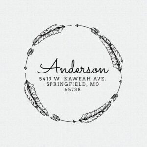 Curstom Address Stamp Arrows and Feathers