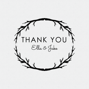 Rustic Wedding Favor Thank You Stamp