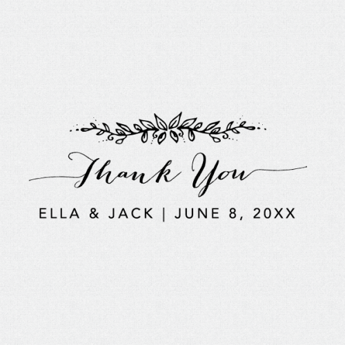 Dress up your wedding favors with this perfect personalized floral Thank You Stamp.  This stamp is available as a self-inking stamp or a rubber stamp (T106)