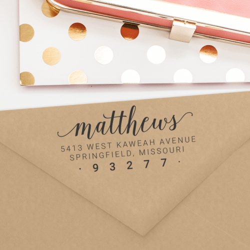 A custom address stamp available as a self inking or a wood mounted stamp. A beautiful stamp for wedding invitations, gifts or housewarming presents. T262