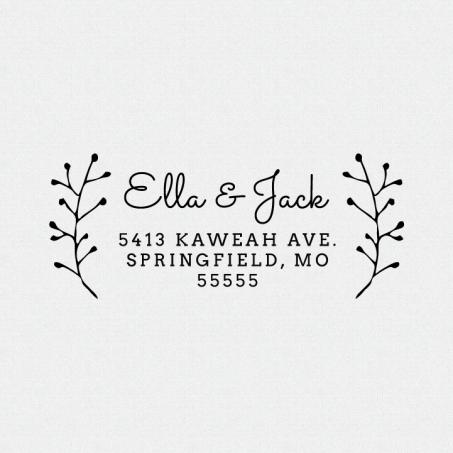 Floral Branch Return Address Stamp