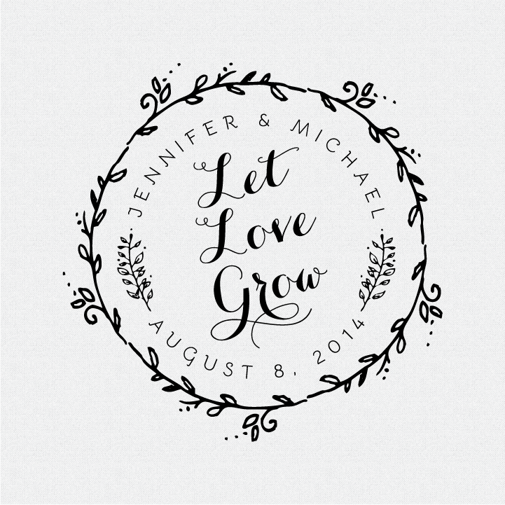 Let Love Grow Wedding Favor Stamp - Style #T174 • Fall For