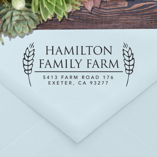 Farm Address Stamp with Wheat 177