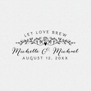 Let Love Brew Wedding Favor Stamp