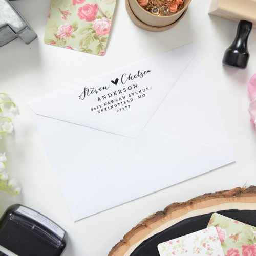 This Return Address Stamp is Romantic, Elegant, Unique and simple featuring a heart between the names.  This return address stamp is erfect for addressing your wedding envelopes or sending out your mail!