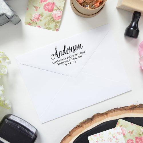 Simple Elegant Romantic Return Address Stamp for Couples or Weddings