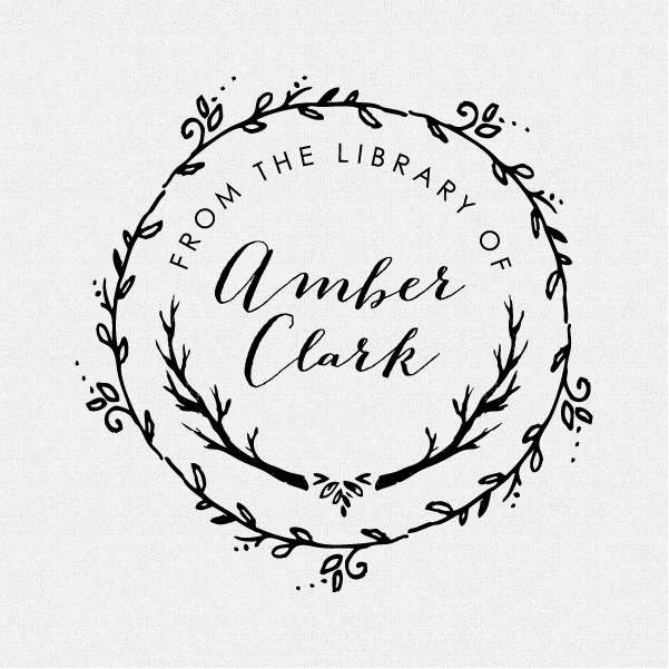 A Beautiful Custom And Personalized From The Library Book Stamp Featuring Wreath Branches