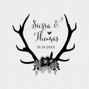 Rustic Wedding Stamp with Antlers and Flowers
