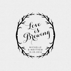 Love Is Brewing Wedding Favor Stamp with Branches Style 298