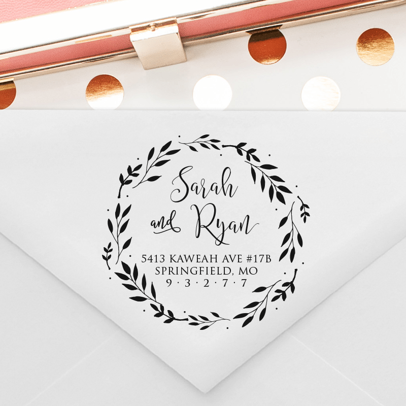 Calligraphy Return Address Stamp With Leaves In Wreath