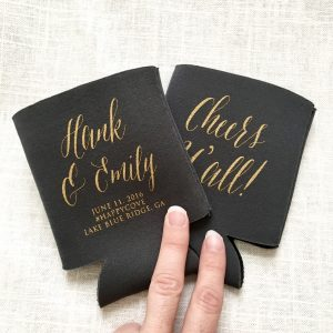Simple and Pretty Calligraphy Wedding Koozie Style T361