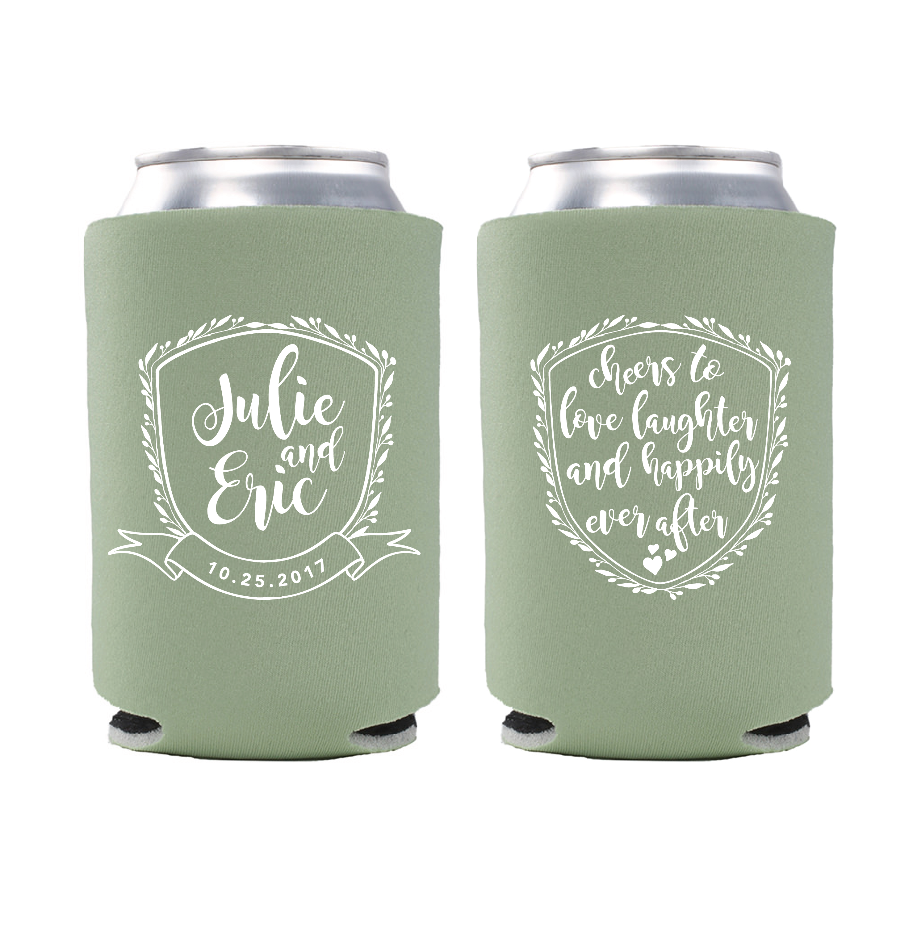 Floral Wedding Crest Can Coolers