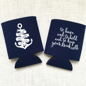 Anchor Personalized Wedding Koozie – T327