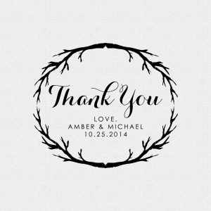Thank You Wedding Favor stamp branches, rustic – Style T202