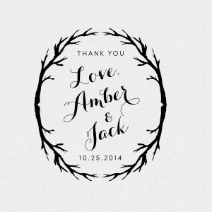 Rustic Personalized Wedding Favor Thank You Stamp – Style T203