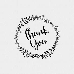 Thank You Floral Wreath Wedding Favor Stamp Style T220