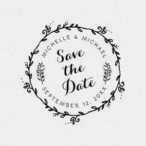 Round Floral Save The Date Stamp – Style T235