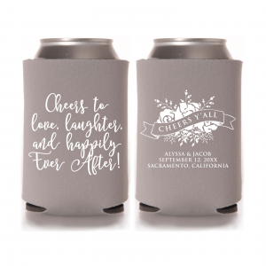 Cheer's to Love, Laughter & Happily Ever AfterWedding Can Cooler – Style T359