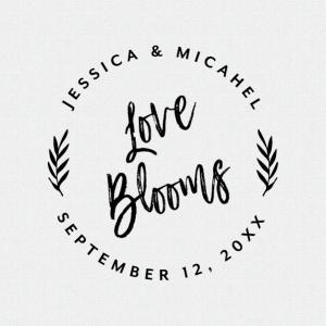 Love Blooms Wedding Favor Stamp Brush Calligraphy T403