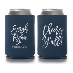 Personalized Wedding Koozie Brush Script – Style T409