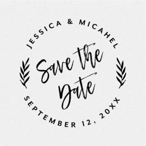 Save the Date Rustic Calligraphy Brush Round Rubber Stamp – Style #T410