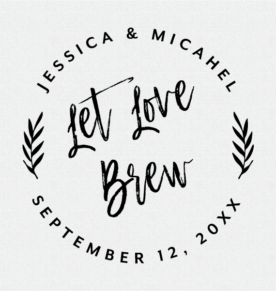 Let Love Brew Wedding Favor Stamp, Tropical, Style T348