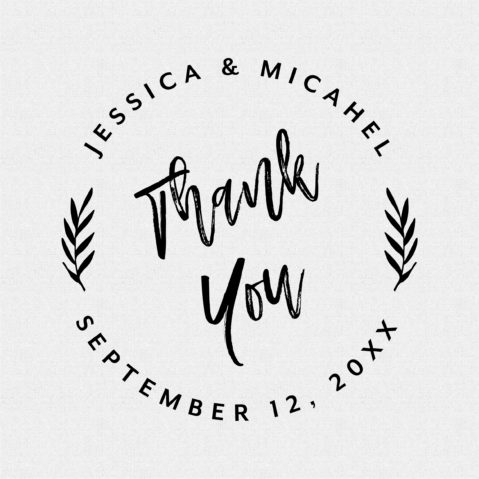 Thank You Round Tropical Wedding Favor Stamp Personalized – T416