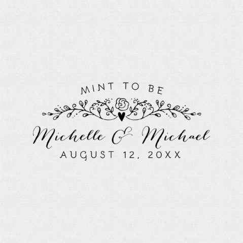 Mint to Be Personalized Wedding Favor Stamp – Style T426