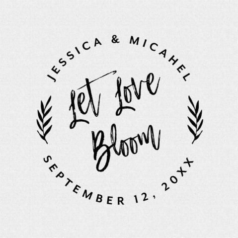 Let Love Bloom Round Wedding Favor Stamp T430