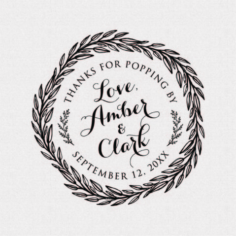 Round Thanks for Popping By Wedding Favor Stamp – Style T440