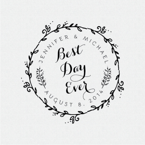 Best Day Ever Round Floral Wreath Wedding Favor Stamp – Style T50