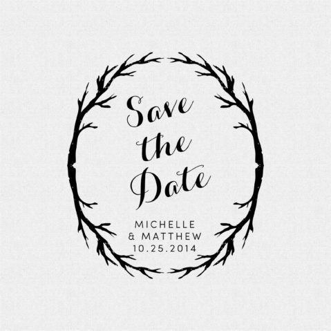Save the Date Branches Rubber Stamp Style T110