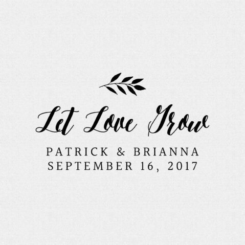 Let Love Grow Wedding Favor Stamp style T13