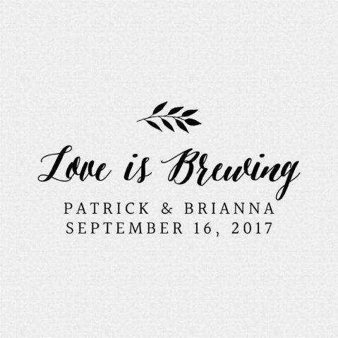Love is Brewing Wedding Favor Stamp – Style T14