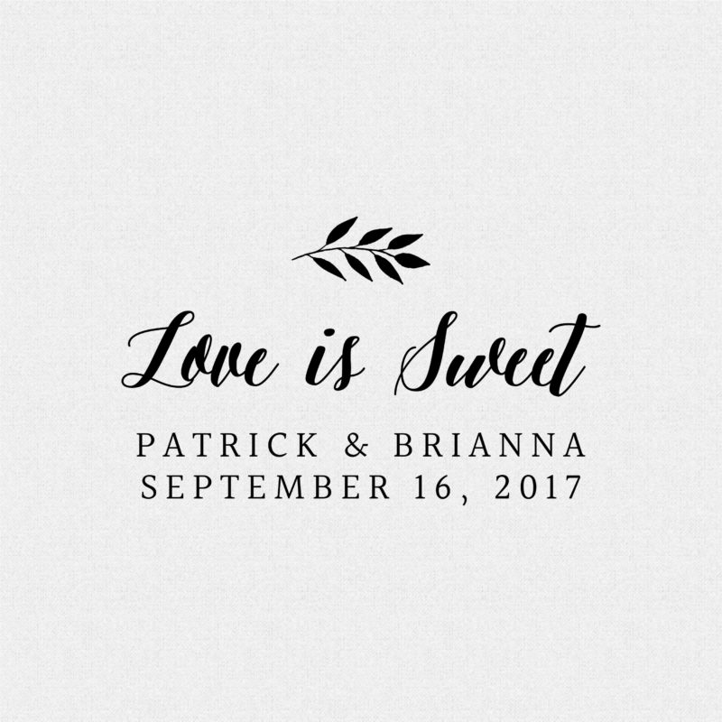 Love is Sweet Personalized Wedding Favor Stamp – Style T186