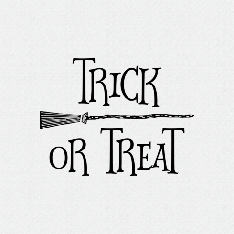 Trick or Treat Rubber Stamp Witches Broom Style W16