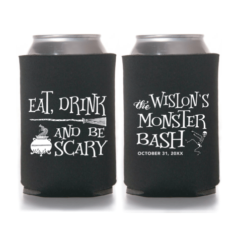 Eat, Drink and be Scary Halloween Monster Bash Koozie