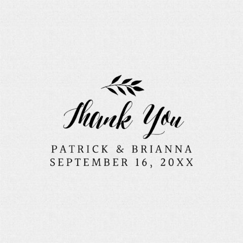 Personalized Thank You Wedding Favor Rubber Stamp – Style T443