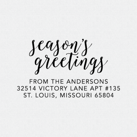 Season's Greetings Return Address Stamp – Style T280
