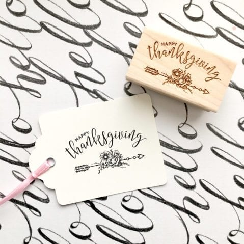 Happy Thanksgiving Rubber Stamp with flowers & Arrows – Style #W35