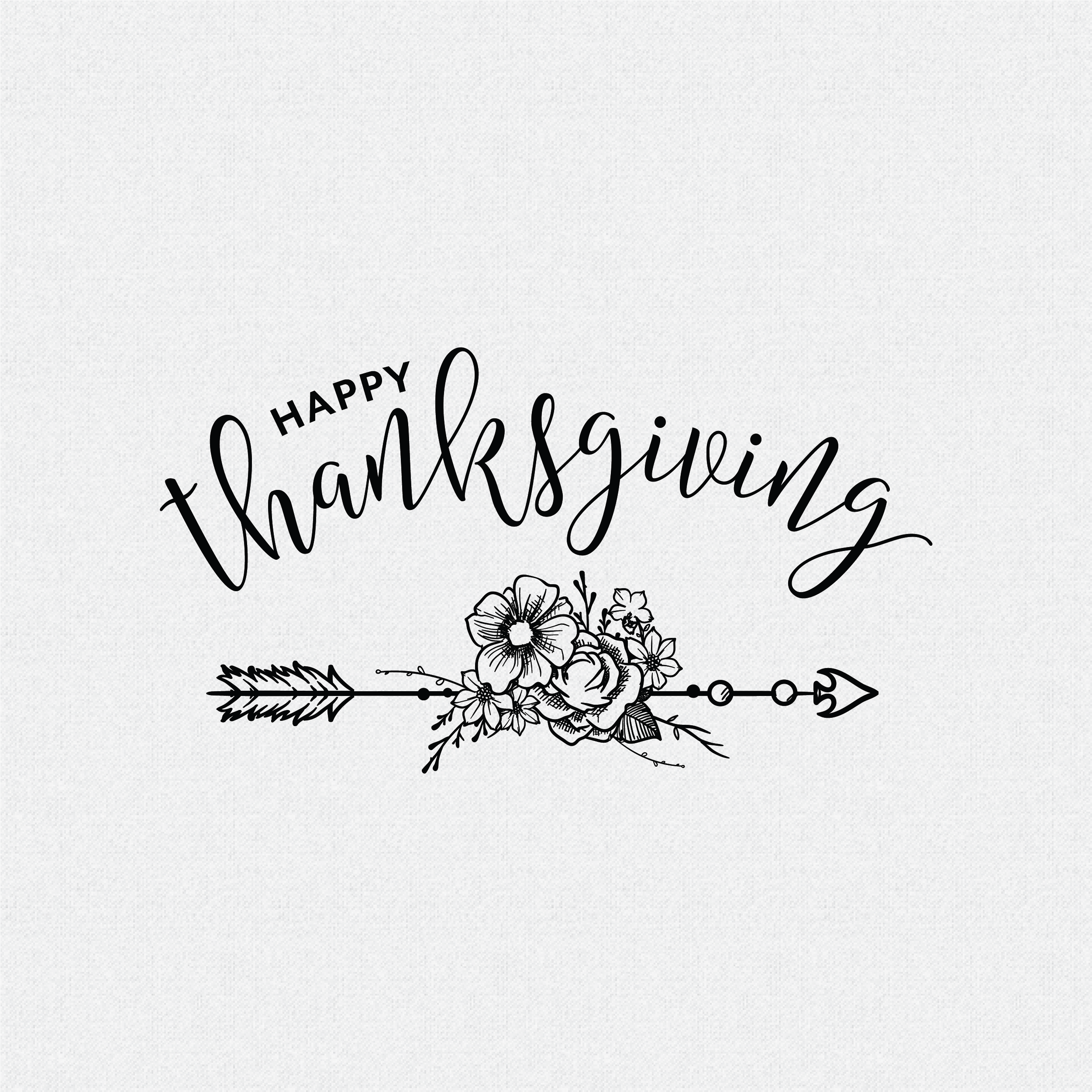 Happy Thanksgiving Rubber Stamp with flowers & Arrows - Style #W35
