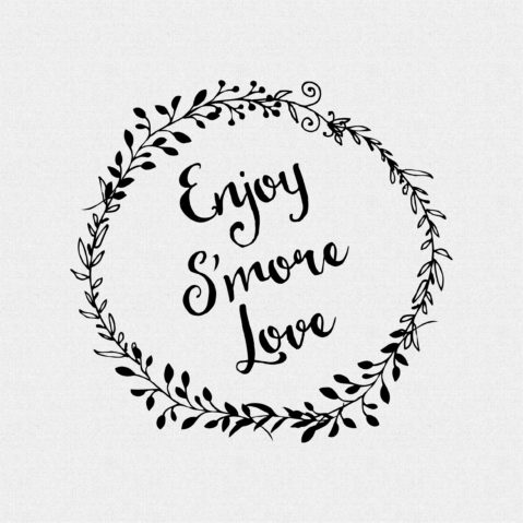Enjoy S'More Love non-Custom Rubber Stamp Laurel Wreath – Style #W46