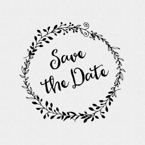 Save the Date non-Custom Rubber Stamp Laurel Wreath – Style #W47