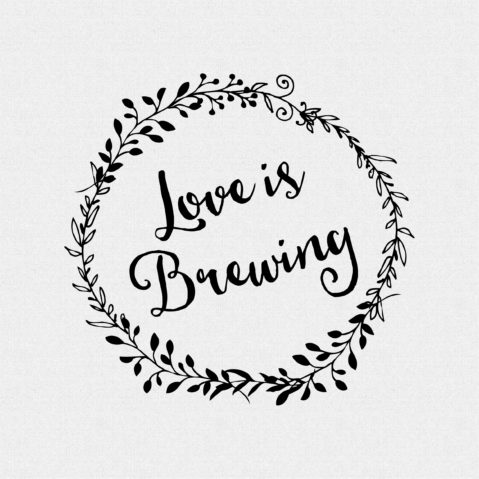 Love is Brewing non-Custom Rubber Stamp Laurel Wreath – Style #W48