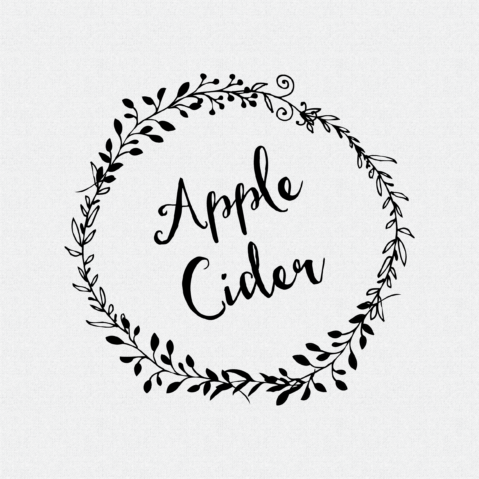 Apple Cider non-Custom Rubber Stamp Laurel Wreath – Style #W51