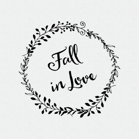 Fall in Love non-Custom Rubber Stamp Laurel Wreath – Style #W54