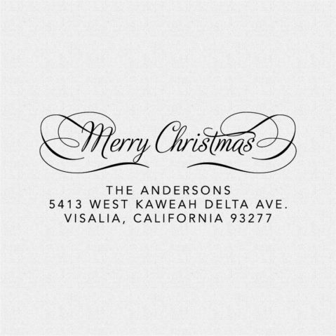Merry Christmas Return Address Stamp – Style T499