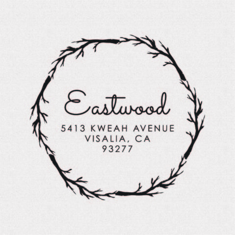 Return Address Stamp Round Circle with Branches – Style T500