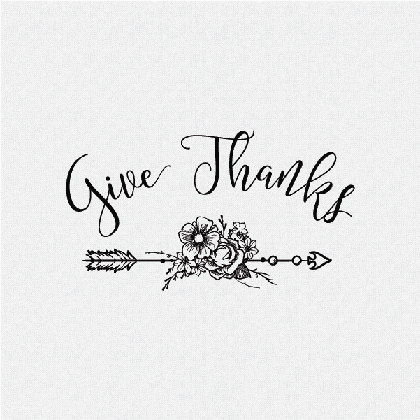 Give Thanks Rubber Stamp - Style #W36