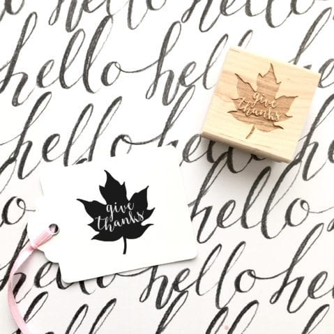 Give Thanks Maple Leaf Rubber Stamp for Thanksgiving Tree Projects – Style #w38